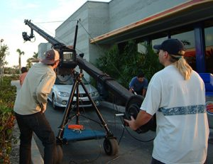 video production shoot at drive thru window
