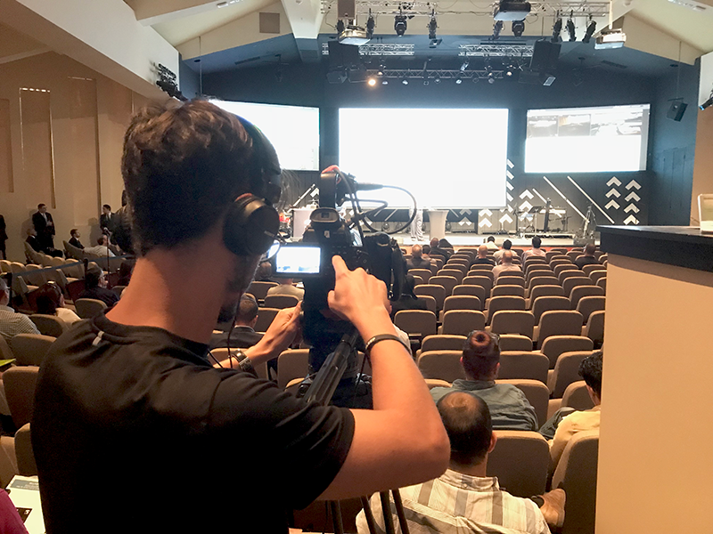 ball media crew taping a speaker at a conference